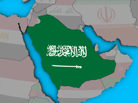 Saudi Arabia with embedded national flag on blue political 3D globe. 3D illustration.