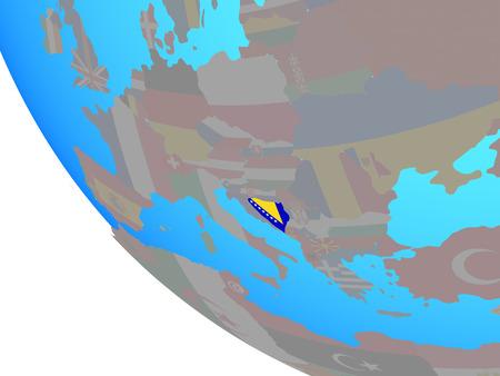Bosnia and Herzegovina with national flag on simple globe. 3D illustration.