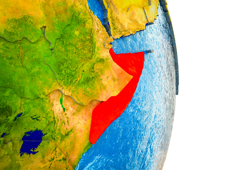 Somalia on 3D model of Earth with divided countries and blue oceans. 3D illustration.