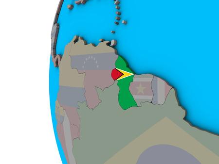 Guyana with national flag on blue political 3D globe. 3D illustration.