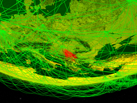 Serbia on green model of planet Earth with network representing digital age, travel and communication. 3D illustration.
