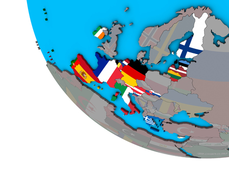 Eurozone member states with embedded national flags on simple 3D globe. 3D illustration.