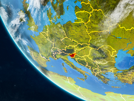 Slovenia on planet Earth from space with country borders. Very fine detail of planet surface and clouds. 3D illustration.