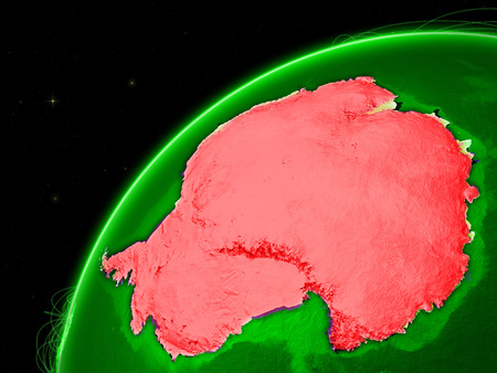 Antarctica on green Earth with network representing intercontinental connections. 3D illustration. Stock Photo