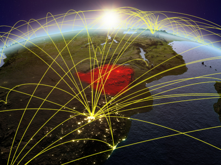 Zimbabwe on planet Earth during dawn with international network representing communication, travel and connections. 3D illustration. Banco de Imagens