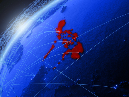 Philippines on model of green planet Earth with international networks. Concept of blue digital communication and technology. 3D illustration.