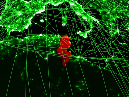 Tunisia on green map with networks. Concept of international travel, communication and technology. 3D illustration.