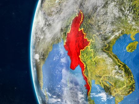 Myanmar from space on model of planet Earth with country borders and very detailed planet surface and clouds. 3D illustration.