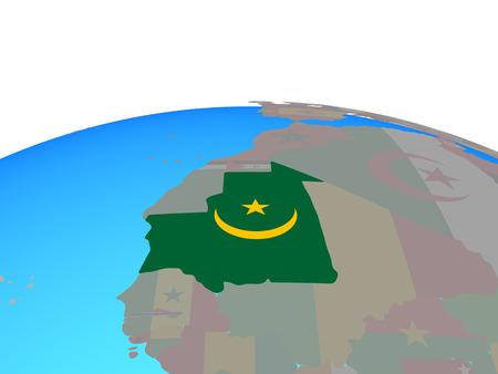 Mauritania with national flag on political globe. 3D illustration.