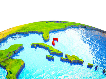 Bahamas on 3D Earth with visible countries and blue oceans with waves. 3D illustration.