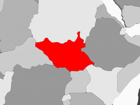 South Sudan in red on grey political map with transparent oceans. 3D illustration. 스톡 콘텐츠