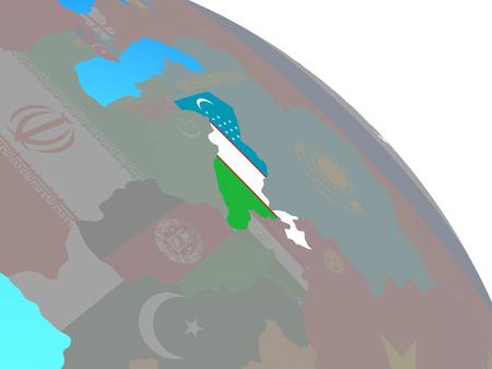 Uzbekistan with national flag on simple blue political globe. 3D illustration.