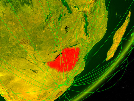Zimbabwe on green model of planet Earth with network at night. Concept of digital technology, communication and travel. 3D illustration.