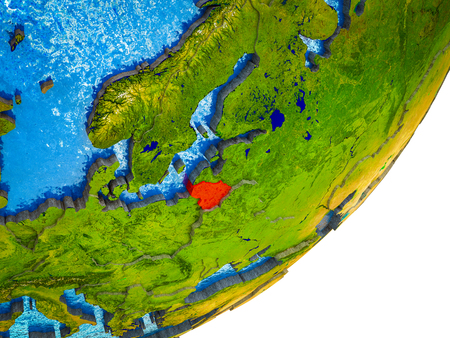 Lithuania on 3D model of Earth with water and divided countries. 3D illustration.