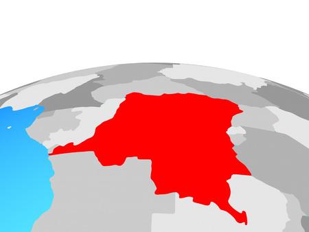 Dem Rep of Congo on political globe. 3D illustration. Standard-Bild - 111291807