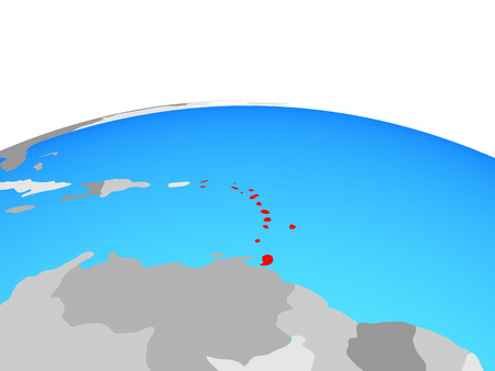 Caribbean on political globe. 3D illustration.