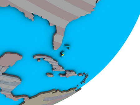 Bahamas with national flag on blue political 3D globe. 3D illustration. Фото со стока