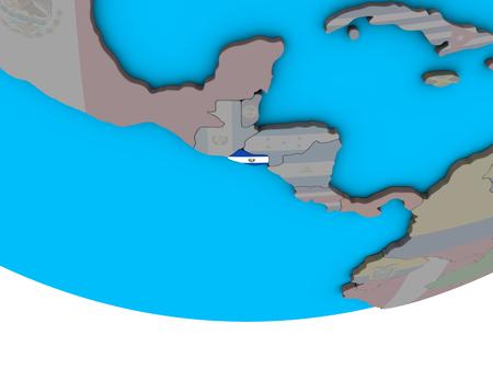 El Salvador with embedded national flag on simple political 3D globe. 3D illustration.