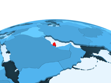Map of Qatar in red on blue political globe with transparent oceans. 3D illustration. Stock Photo