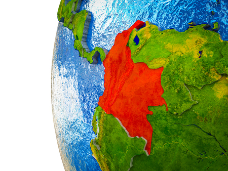 Colombia highlighted on 3D Earth with visible countries and watery oceans. 3D illustration. Reklamní fotografie