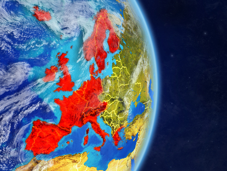Western Europe on planet planet Earth with country borders. Extremely detailed planet surface and clouds. 3D illustration.