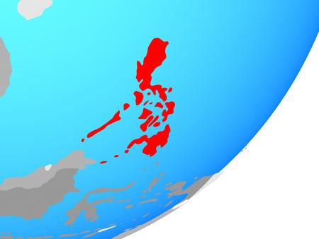 Philippines on blue political globe. 3D illustration. Фото со стока