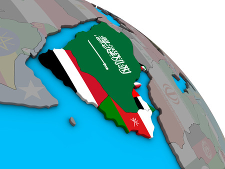 Arabia with embedded national flags on simple blue political 3D globe. 3D illustration. Stock Photo