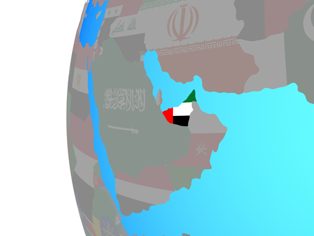 United Arab Emirates with embedded national flag on blue political globe. 3D illustration.