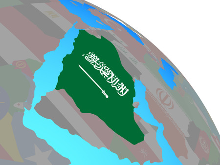 Saudi Arabia with national flag on simple blue political globe. 3D illustration.