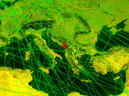 Montenegro on digital map with networks. Concept of international travel, communication and technology. 3D illustration.