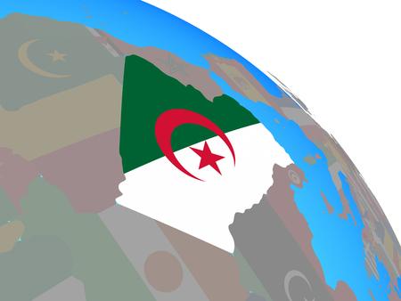 Algeria with national flag on simple blue political globe. 3D illustration.