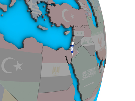 Israel with embedded national flag on simple political 3D globe. 3D illustration.