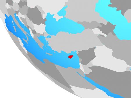 Cyprus on simple globe. 3D illustration.