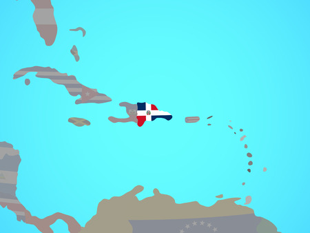 Dominican Republic with national flag on blue political globe. 3D illustration. 스톡 콘텐츠