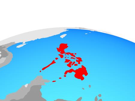 Philippines on political globe. 3D illustration.