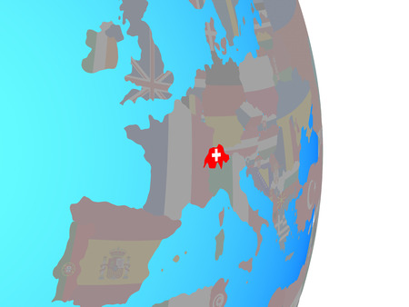 Switzerland with national flag on simple political globe. 3D illustration. Banque d'images - 111290136