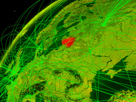Lithuania on model of green planet Earth with international networks. Concept of digital communication and technology. 3D illustration.