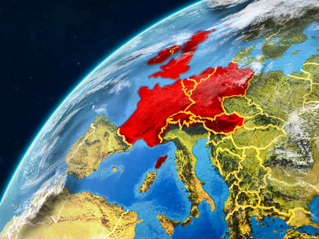 Western Europe on realistic model of planet Earth with country borders and very detailed planet surface and clouds. 3D illustration.