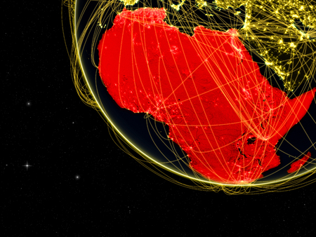 Africa on dark Earth with network. Concept of connectivity, internet or telecommunications. May also represent air traffic. 3D illustration.