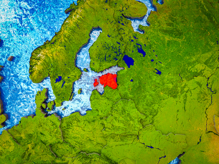 Estonia on model of 3D Earth with blue oceans and divided countries. 3D illustration.