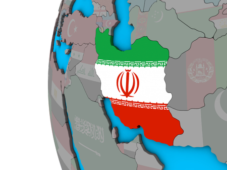 Iran with national flag on blue political 3D globe. 3D illustration.