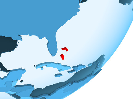 Bahamas in red on blue political globe with transparent oceans. 3D illustration. Stock Photo