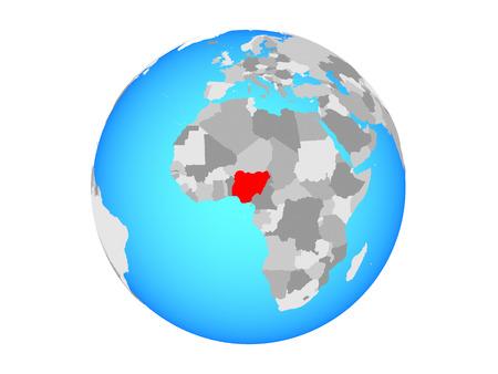 Nigeria on blue political globe. 3D illustration isolated on white background.