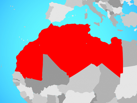 Maghreb region on blue political globe. 3D illustration. Stock Photo