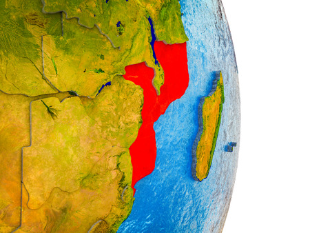Mozambique on 3D model of Earth with divided countries and blue oceans. 3D illustration. Standard-Bild - 111291573