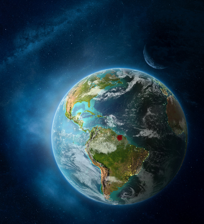 Suriname from space on Earth surrounded by space with Moon and Milky Way. Detailed planet surface with city lights and clouds. 3D illustration.