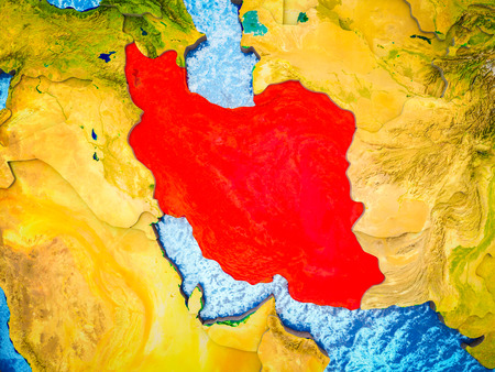 Iran on model of 3D Earth with blue oceans and divided countries. 3D illustration.