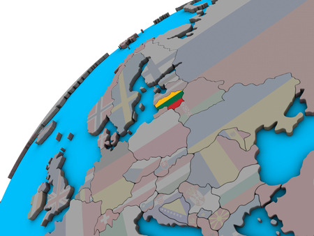 Lithuania with national flag on 3D globe. 3D illustration.