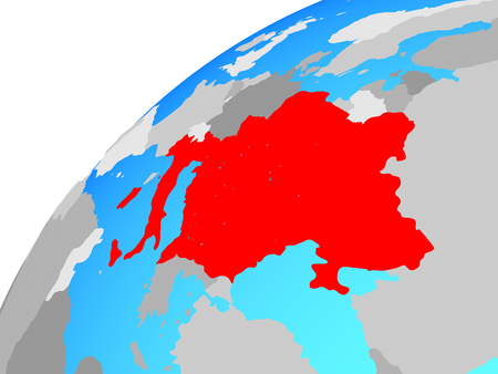 CEI countries on globe. 3D illustration.