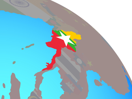 Myanmar with national flag on simple blue political globe. 3D illustration. Stockfoto